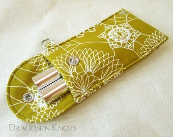 Tall Lip Gloss Holder - Halloween Spider and Doily Web Insulated Cosmetic Pouch with Snap, Dark Mustard Yellow, Silver Arachnid, Keychain