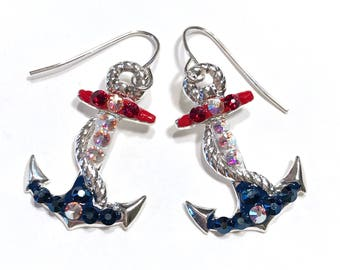 Anchor Earrings Nautical with Sparkling Crystals Red White and Blue