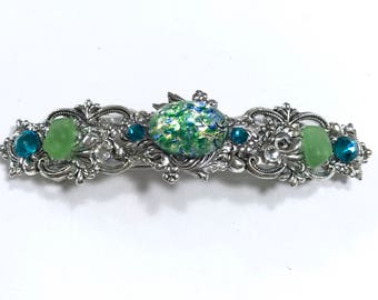 Hair Barrette with Green Glass Opal, Sparkling Crystals and Beach Glass