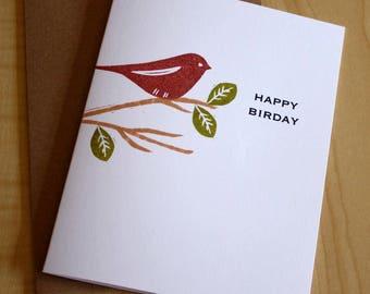Happy Birday Note Card - Brown Bird Birthday Card - Happy Birthday Card - Hand Printed Greeting Card