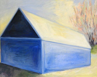 Blue Barn Landscape Painting Small Original Oil on canvas 16x20 inches