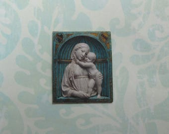 Dollhouse Miniature Madonna & Child Wall Plaque