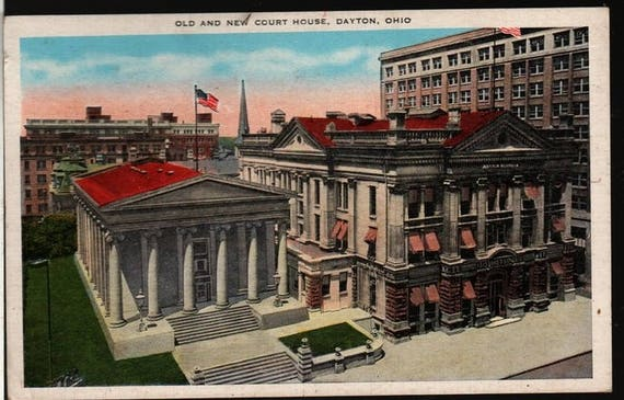 Old and New Court House – Dayton, Ohio – Vintage Souvenir Postcard