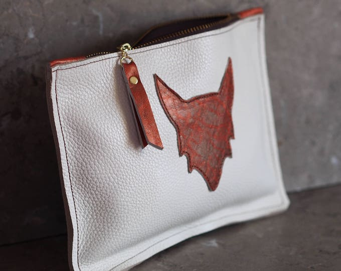 Fire Fox zippered leather wristlet pouch