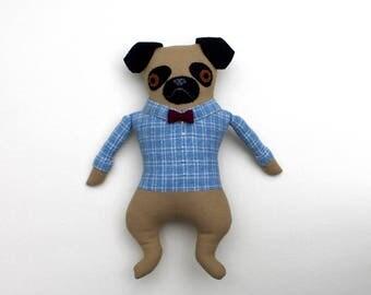 Boy Pug in Blue Plaid Shirt Bowtie doll plush softie Wool
