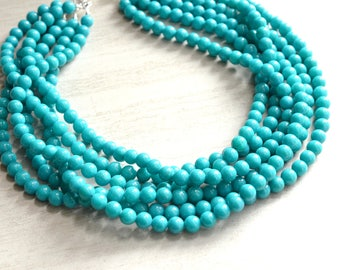 The Michelle- Turquoise Jade Chunky Necklace