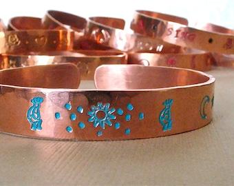 Hand Stamped Painted Hammered Copper Bangle Cuff Bracelet - Southwest Kokopelli Copper Story Bracelet - Kokopelli, Sun, Moon, Stars