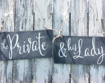 Chalkboard Wedding Chair Signs | Military Wedding Decor | The Private & His Lady | Wedding Signs | Reversible Signs |Rustic Chalkboard Signs