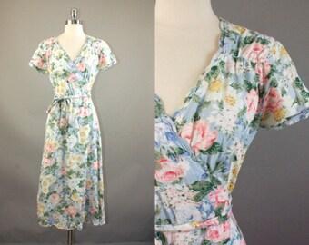 70s Floral Dress / Vtg peasant hippie bohemian wrap dress Size M/L