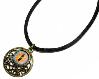Eye Pendant Glass Dragon Eye Jewelry Blue Fire Dragon Eye Antiqued Brass Filigree Pendant with Necklace