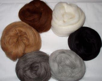 Finest alpaca wool roving, 6 shades in one bag, spinning fiber, alpaca hair, dolls hair, wool hair, felting fiber, roving wool, 100g, 3.5oz