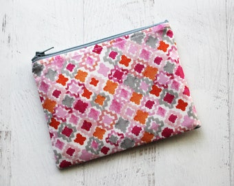 New mom gift idea - essential oils zip pouch - watercolor print zip pouch - small cosmetics bag