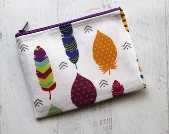 Essential oils carrying bag - feathers zippered pouch - bohemian wallet - feathers print bag - feathers zip pouch - feathers cosmetics bag