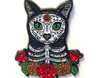 Day of the Dead Cat Enamel Pin Gothic Mexican Sugar Skull Lapel Pin Cat Art Brooch Gift for Cat Lovers Flair Jewelry