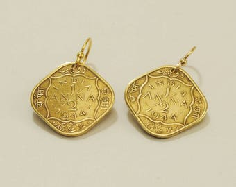 British India Coin Jewelry Earrings 1944