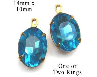 Aqua Blue Glass Beads - 14x10 Ovals - Aqua Earrings or Pendants - 14mm x 10mm- Rhinestone Glass Gems - Jewelry Supply - One Pair