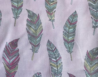 """NEW! """"Totally Totable"""" Weighted Lap Blanket - Adult or Child - Pastel Feathers on PInk - Choose your weight and minky color"""