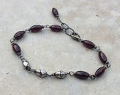 GARNET Bracelet, red gemstone and silver bracelet, handmade bracelet, artisan jewelry, January birthstone jewelry, stacking bracelet