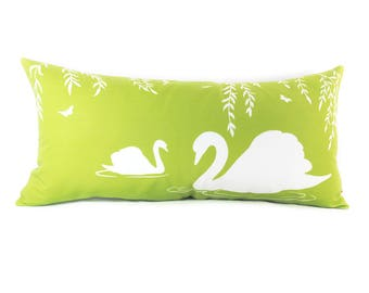 White and Lime Green Swan in the Swamp Rectangle Linen Pillow
