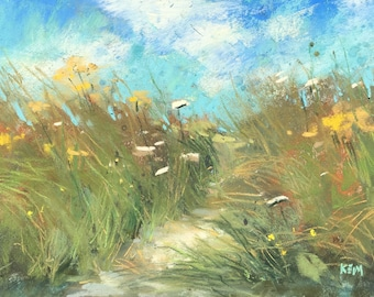 IRELAND Seashore Wildflowers Dunes plein air  Landscape Original Pastel Painting Karen Margulis 5x7