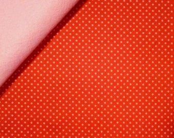 Happy Day fabric felt  :  Pink Dots in Red on Baby Pink