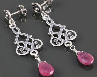 Genuine Ruby Earrings. Sterling Silver. Art Deco Motif. July Birthstone. Post Earrings. Long Earrings. s17e097