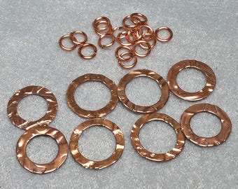 8 Embossed Copper Connector Rings - Jewelry Components - 2 Sizes