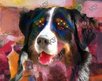 Pop Art Bernese Mountain Dog - 5x7 - Instant Download