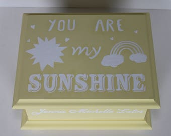 Baby Keepsake Memory Box You Are My Sunshine personalized baby shower gift hand painted personalized