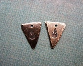 Antiqued Sterling Silver Triangle Charms with Fire Stamping - 1 pair - 17mm