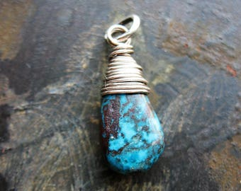 25mm Natural Turquoise Briolette Pendant in Sterling Silver