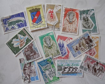 15 Vintage Postage Stamps, French Colonies in Africa, 1960s, Excellent Condition