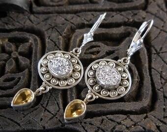 Silver titanium druzy quartz & citrine gemstone sterling silver earrings