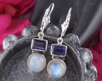Moonstone & iolite sterling silver earrings