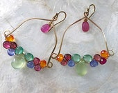 Prehnite, tanzanite, Pink tourmaline, mandarin garnet, and Kyanite Woven Chandelier Earrings