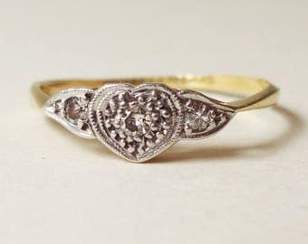 Art Deco Diamond Heart Ring, Vintage 18k Gold, Platinum and Diamond Engagement Ring, Approx Size US 5.75 / 6