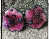 Raspberry Pink and Black Abstract Shape Torch Fired Enamel Charm