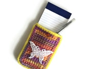 Crochet Holder, 3x5 Notebook Case with Pen and Pad Included, Kids Travel Games Accessories, Back to School Student Gift for Her, Small Case