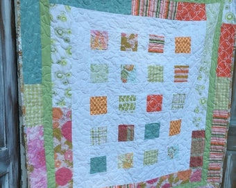 CRAZY SALE- Upcycled Baby Quilt-Beauty in the Randomness-Reversible