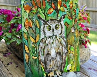 Original Intuitive Owl Painting by Carol Iyer