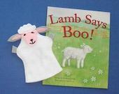 Lamb Hand Puppet and Book Set / Sheep Felt Puppet and Book