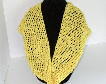 Yellow Summer Cowl, Cotton Circle Scarf, Hand Knit Mesh Infinity Scarf