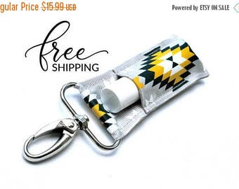 ON SALE LippyClip™ Swivel Clip Keychain Holder for Chapstick, Burt's Bees, etc.    Grey with Navy and Yellow Aztec Tribal Lip Balm Keychain