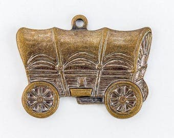 20mm Antique Brass Covered Wagon Charm #313A