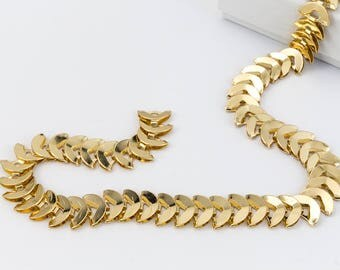 Bright Gold 8mm Crescent Moon Chain #CC112