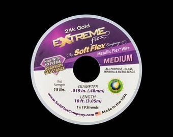 24 Kt. Gold .019 Inch 19 Strand Extreme Soft Flex Beading Wire (10 Ft) #WRS002