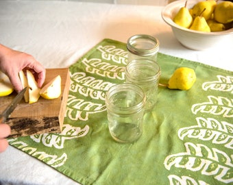 green seedlings tea towel