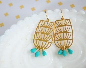 Scandinavian modern whimsy brass floral earrings- turquoise czech glass details- gold plated