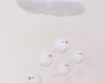 White Baby mobile - gender neutral white nursery decoration - cloud and bird mobile