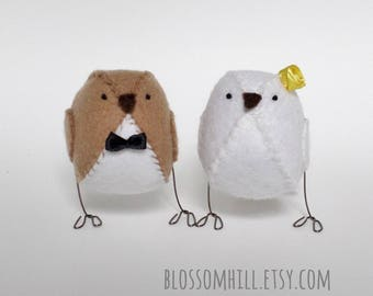 Wedding cake topper - love birds - light brown and yellow